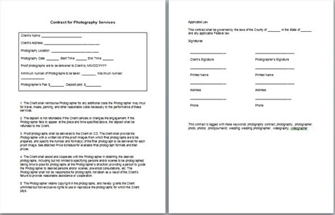 Photography Contract Free Printable Documents Photographer Contract Template