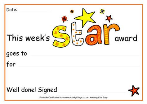 printable star awards this weeks star award certificate