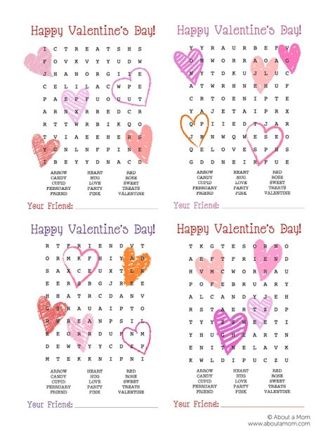 words for valentines word search printable valentines about a