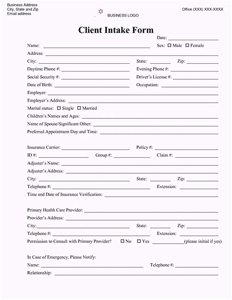 intake form template free counseling intake form template template update234