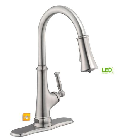 touchless faucet kitchen glacier bay touchless single handle pull sprayer kitchen faucet with led light in chrome
