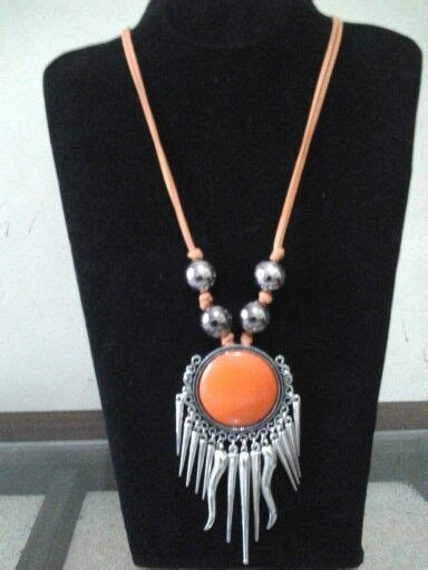 Choker Layer Pita Biru 1 etnik cabe orange necklace kalung orange