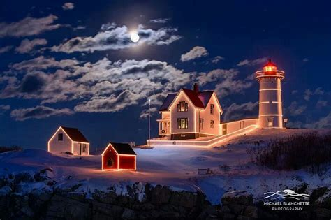 moon over nubble lighthouse maine beacon of hope pinterest