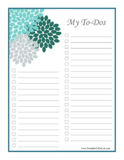 printable to do list with checkboxes flower to do list