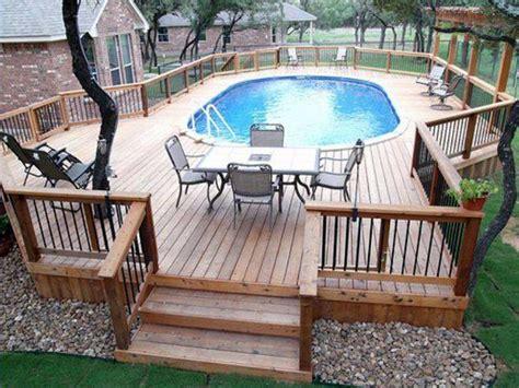 Above Ground Pool Decks Outdoortheme Com Above Ground Swimming Pool Deck Designs