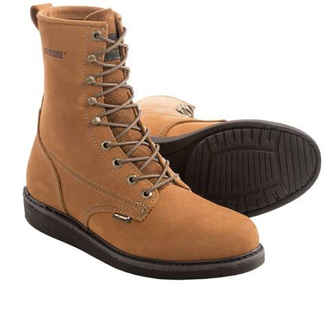 wolverine durashocks 8 plain toe work boots wedge heel