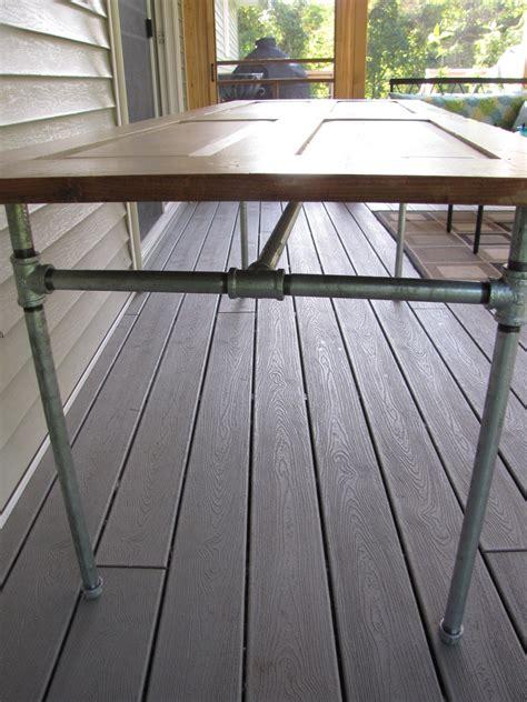 Diy Patio Door Diy Table Made From An Door And Galvanized Pipe