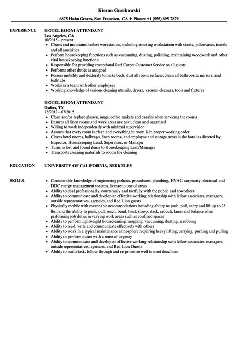 Hotel Attendant Sle Resume by Hotelroom Attendant Resume Amusement Parks Resume Exle