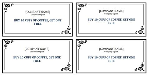 punch card template free edit editable punch card template ms word excel tmp