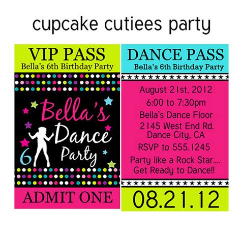 free printable birthday invitations dance party dance party vip lanyard badge custom by cupcakecutieesparty