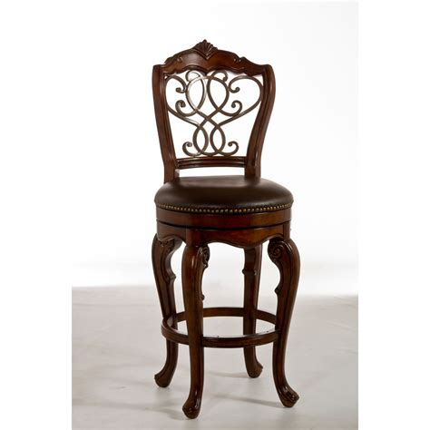rustic carved wood swivel bar stool with ornate wrought