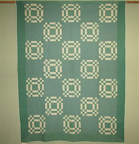 Green Patchwork Quilt - vintage green and white patchwork quilt linens and