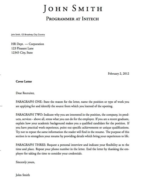 Format Of A Cover Letter For A cover letter format