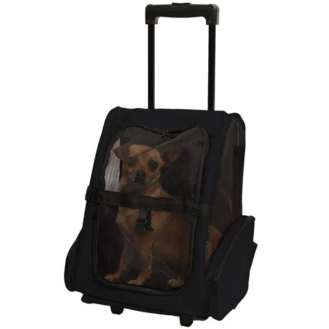 rolling carrier 4n1 pet carrier cat rolling back pack travel airline wheel luggag bag black ebay