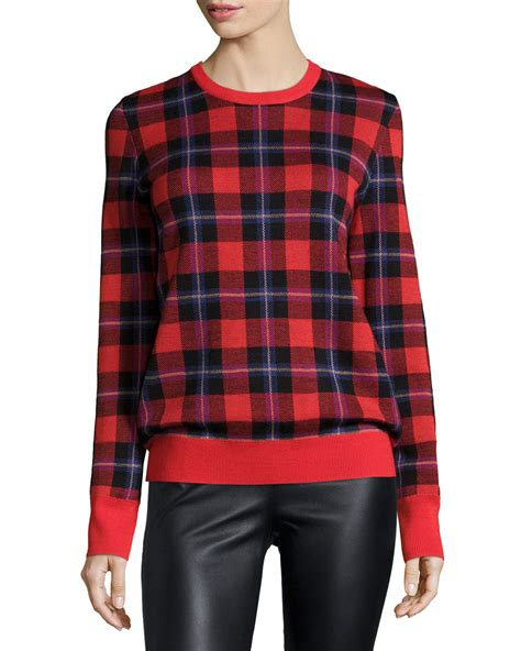 Plaid Sweater lyst equipment shane sleeve plaid sweater in black