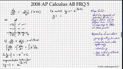 sle questions for calculus ab section 1 2008 ap calculus ab frq 5 youtube
