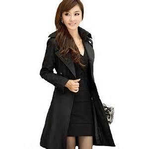 womens black trench coat lady long sleeve dress journal
