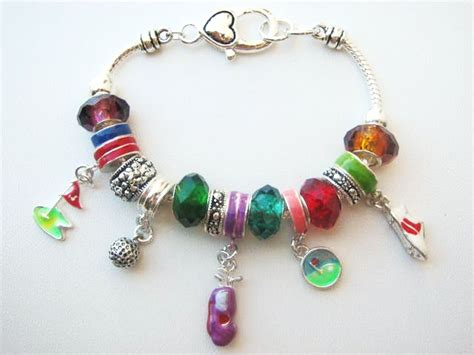 pandora inspired golfer charm bracelet golf club bag