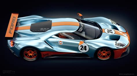 gulf racing ford gt racer rendered with iconic gulf livery carscoops