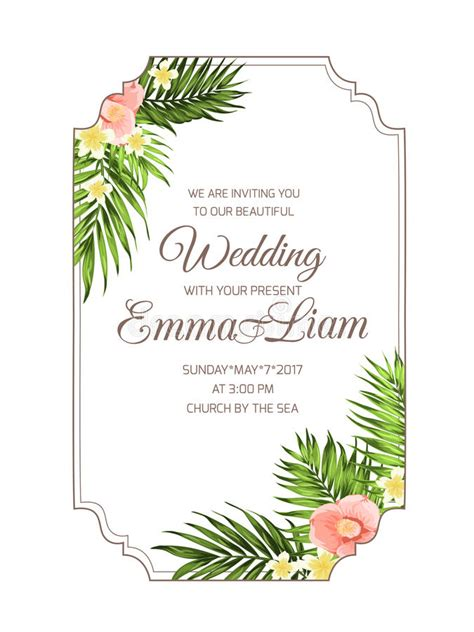 tropical card template tropical wedding invitation card template stock