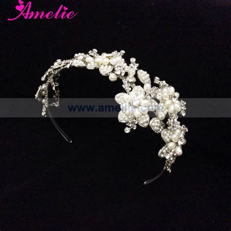 Handmade Wedding Tiaras - pearl and rhinestone handmade wedding tiara view wedding
