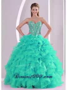 2014 turquoise puffy sweetheart oraganza ruffles and