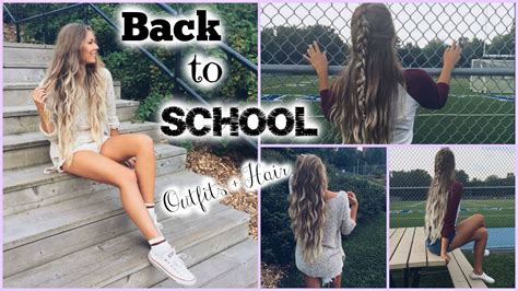 back to school hairstyles and outfits back to school cute outfits quick easy hair youtube