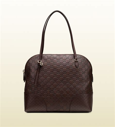 Guc Ci Leather Brown lyst gucci ssima leather shoulder bag in brown