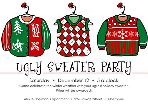 Ugly Sweater Christmas Party Invitations Template Best Template Collection Jumper Day Template Letter