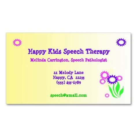 Speech Therapist Business Card Templates by 1000 Images About Speech Pathologist Business Cards On