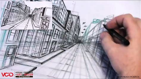 2 Drawings In 1 by Learn How To Draw A City In One Point Perspective Part 4
