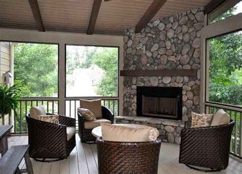 Sunroom With Fireplace by Sunroom Addition With Rock Fireplace Milton Ga