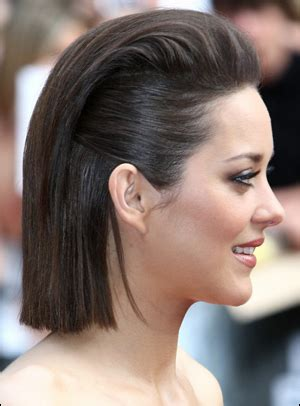 pulling medium black hair back marion cotillard s pulled back straight bob hairstyle