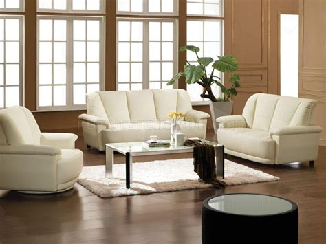 White Living Room Furniture Set Bonded Leather 3 Living Room Set 2828 White