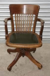 Oak Green Leather Swivel Office Desk Study Chair Leather Desk Chairs Swivel
