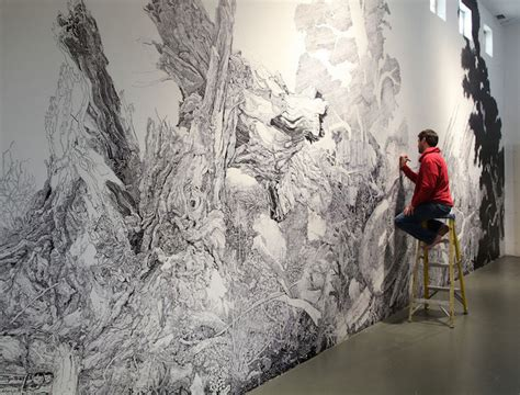 painting on wall sprawling nature inspired mural drawn entirely with a