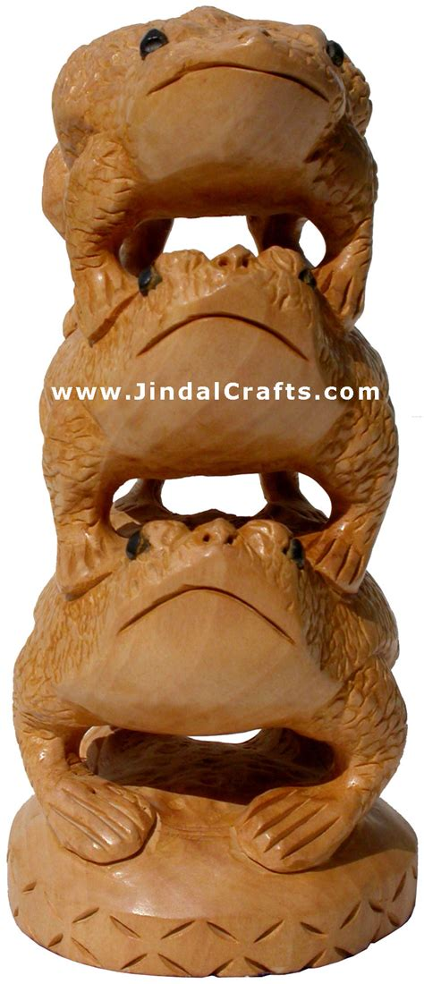 wooden frog feng shui tower hand carved indian artifacts