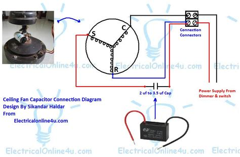 ceiling fan run capacitor ceiling fan capacitor wiring connection diagram