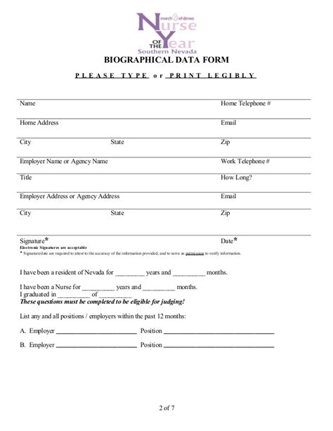 Triage Sheet Template by Biographical Data Form