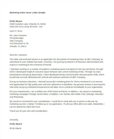 Mba Internship Cover Letter Marketing by 11 Marketing Cover Letter Templates Free Sle