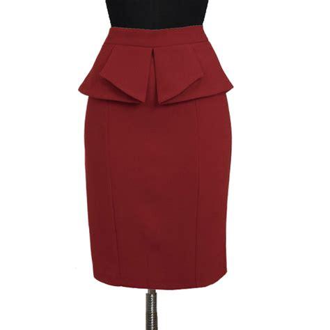 wine peplum pencil skirt custom fit handmade fully