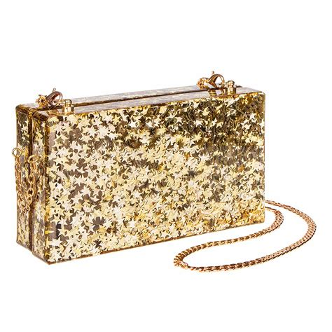 Shopping Magnes Gold Clutch by Blue Banana Gold Glitter Box Clutch Bag Handbags And