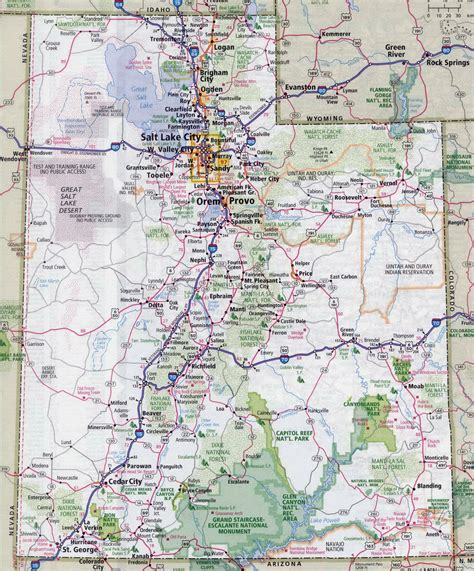 map of the united states with major highways large detailed roads and highways map of utah state with