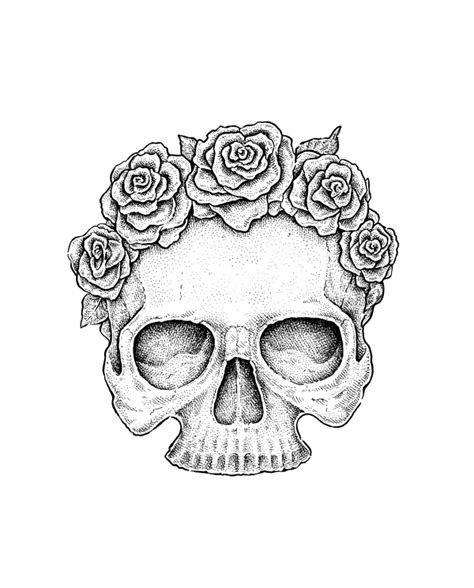 awesome flowery crown u0026 skull awesome drawings of roses and skulls www pixshark