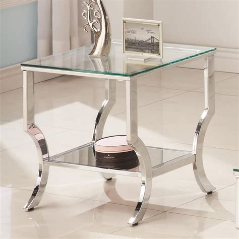 glass top end tables contemporary chrome metal cleared tempered glass top end table