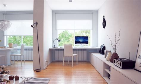 Modern White Home Decor by Modern Home Office Design With White Wall Painted Interior Color Decor Plus Wooden Desk With