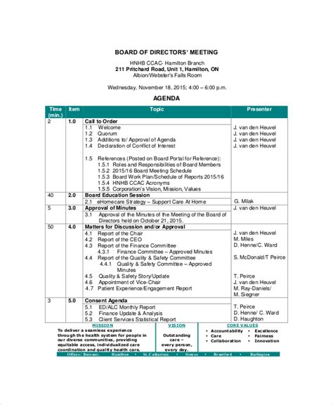 board meeting templates board of directors meeting agenda template 8 free word