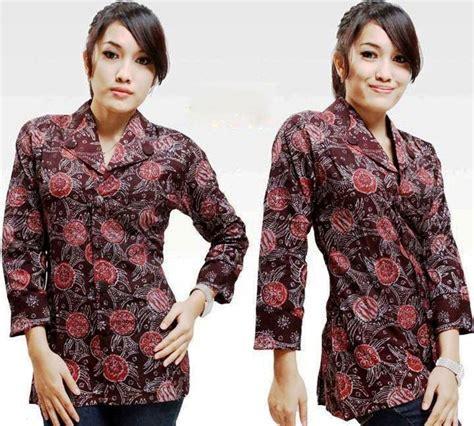 Blouse Kombinasi Lengan Terompet model baju batik kantor wanita lengan panjang terbaru 2017