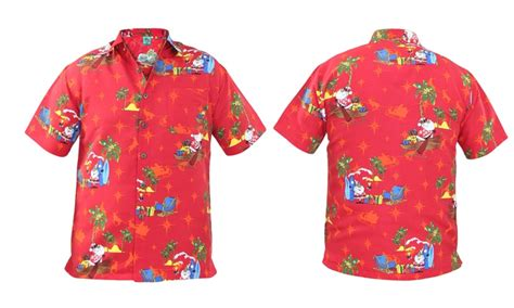 christmas themed clothing uk true face hawaiian xmas shirt groupon goods