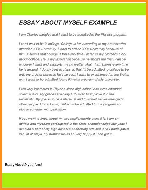 How To Start Essays About Yourself by 6 Write Essay About Yourself Agenda Exle